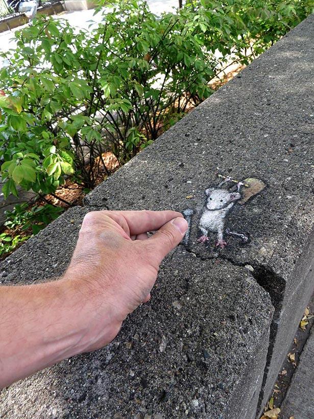 Уличный художник Дэвид Зинн (David Zinn) и другие обитатели Энн-Арбора