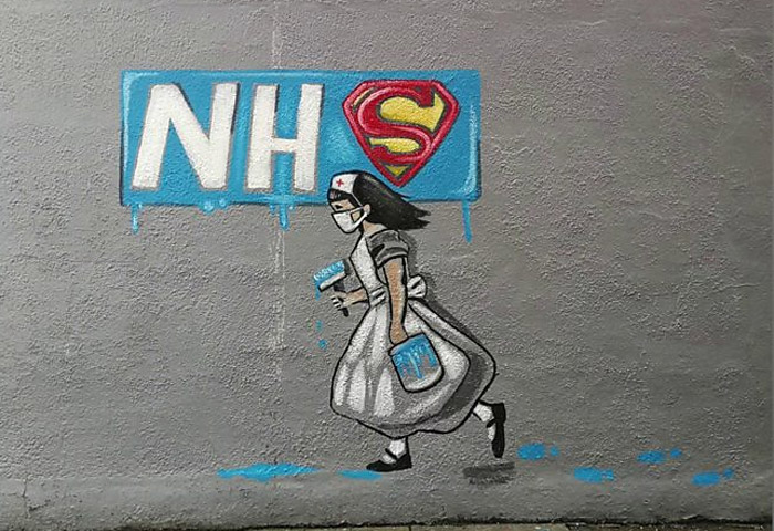 Вдохновленный работами Бэнкси рисунок, посвященный работе сотрудников службы здравоохранения