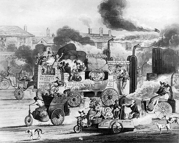 Карикатура на грядущую эпоху паровых экипажей. «Whitechapel Road», 1831