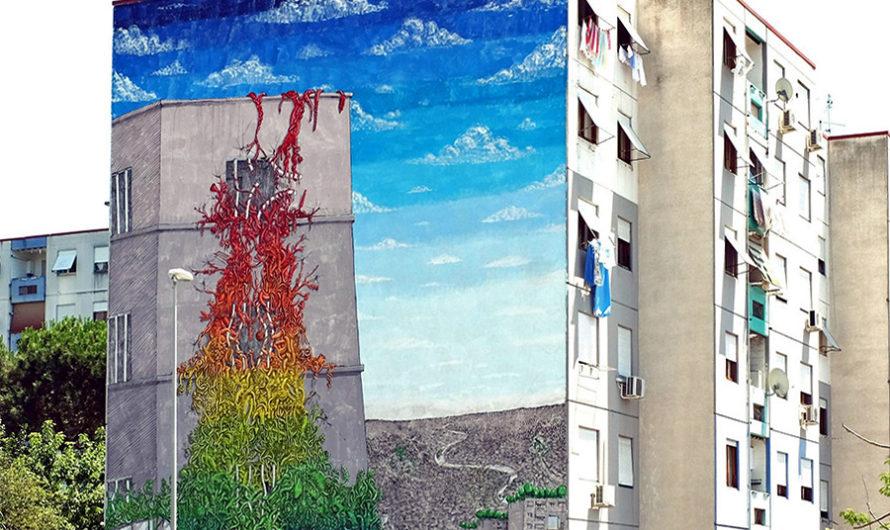 Вечное лето : Мурал Blu на 7-этажном здании в Риме
